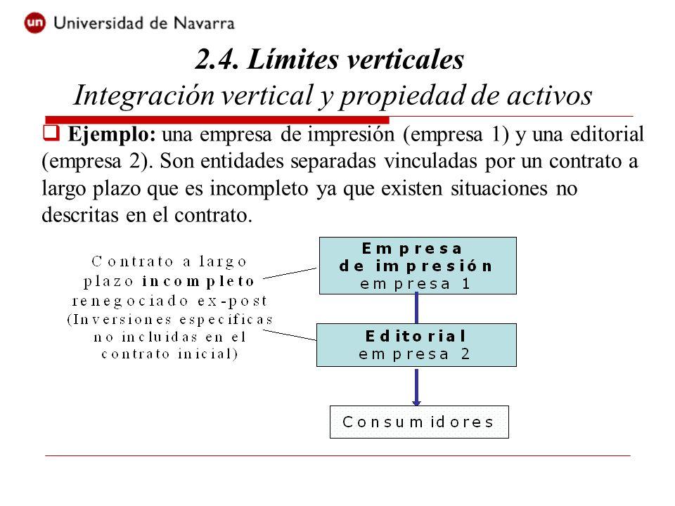 2.4. Límites verticales Integración vertical y propiedad de activos Ejemplo: una empresa de impresión (empresa 1) y una editorial (empresa 2). Son ent