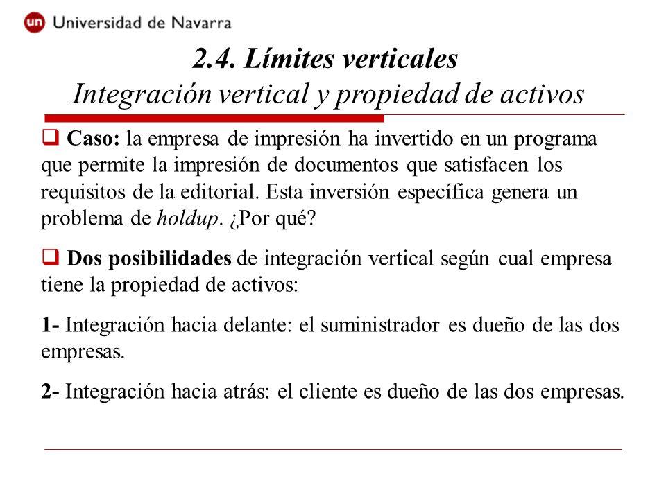 2.4. Límites verticales Integración vertical y propiedad de activos Caso: la empresa de impresión ha invertido en un programa que permite la impresión
