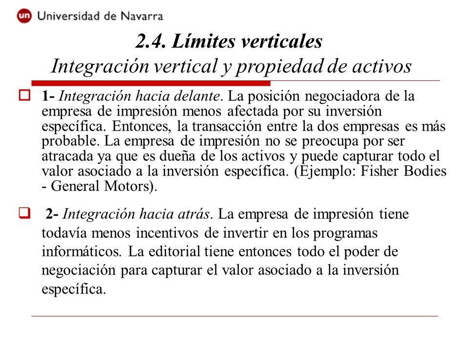 1- Integración hacia delante. La posición negociadora de la empresa de impresión menos afectada por su inversión específica. Entonces, la transacción
