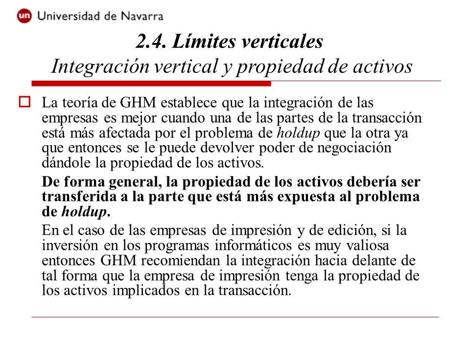 La teoría de GHM establece que la integración de las empresas es mejor cuando una de las partes de la transacción está más afectada por el problema de