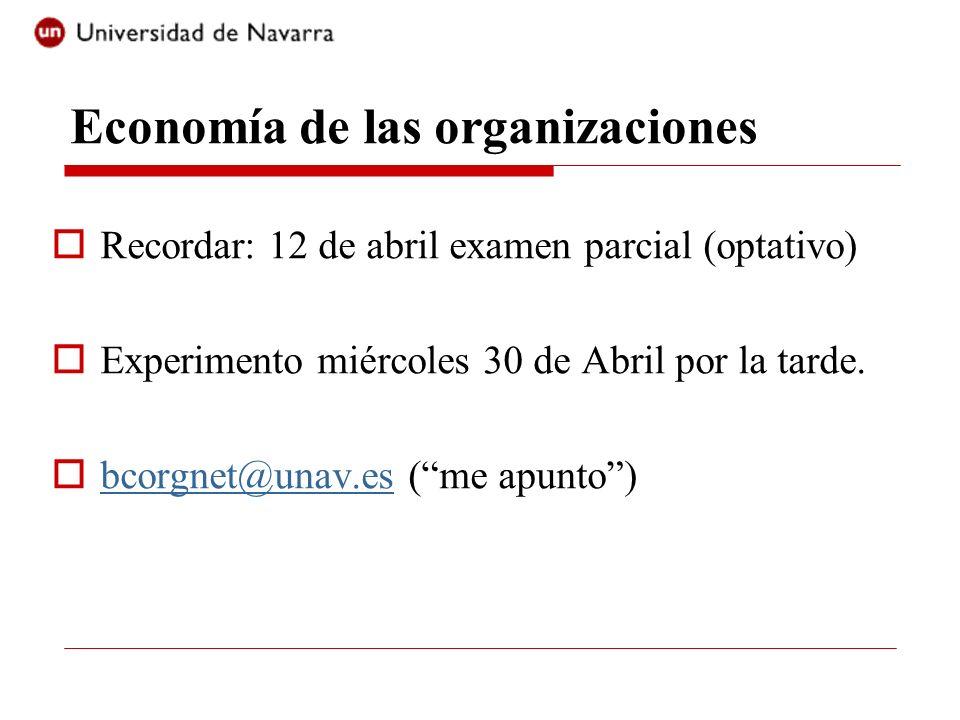 Economía de las organizaciones Recordar: 12 de abril examen parcial (optativo) Experimento miércoles 30 de Abril por la tarde. bcorgnet@unav.es (me ap