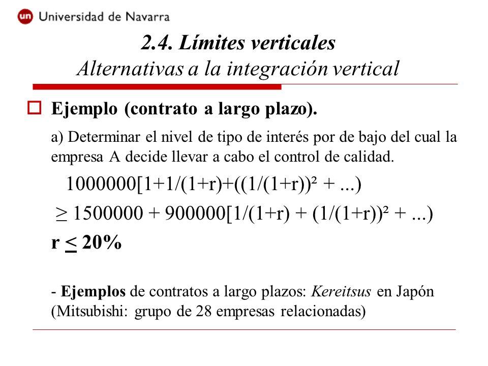 Ejemplo (contrato a largo plazo). a) Determinar el nivel de tipo de interés por de bajo del cual la empresa A decide llevar a cabo el control de calid