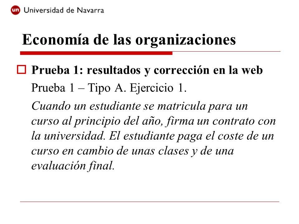 Economía de las organizaciones Prueba 1: resultados y corrección en la web Prueba 1 – Tipo A. Ejercicio 1. Cuando un estudiante se matricula para un c