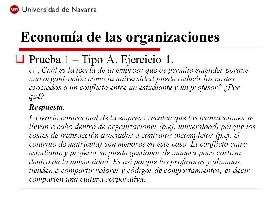 Economía de las organizaciones Prueba 1 – Tipo A. Ejercicio 1. c) ¿Cuál es la teoría de la empresa que os permite entender porque una organización com