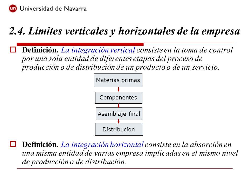Definición. La integración vertical consiste en la toma de control por una sola entidad de diferentes etapas del proceso de producción o de distribuci