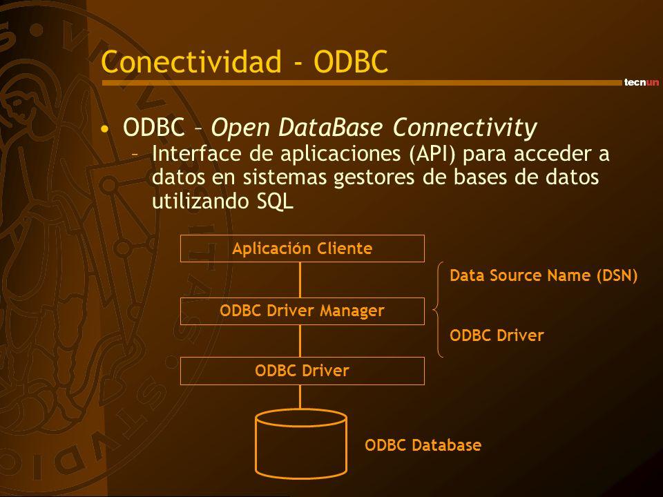 Conectividad - ODBC ODBC – Open DataBase Connectivity –Interface de aplicaciones (API) para acceder a datos en sistemas gestores de bases de datos uti