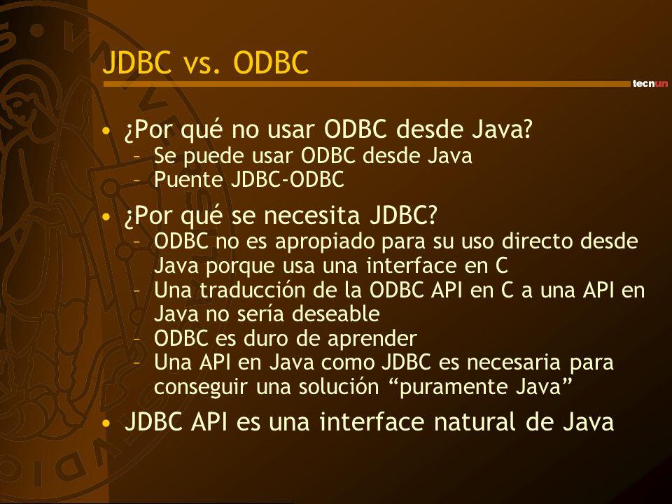 JDBC vs. ODBC ¿Por qué no usar ODBC desde Java? –Se puede usar ODBC desde Java –Puente JDBC-ODBC ¿Por qué se necesita JDBC? –ODBC no es apropiado para
