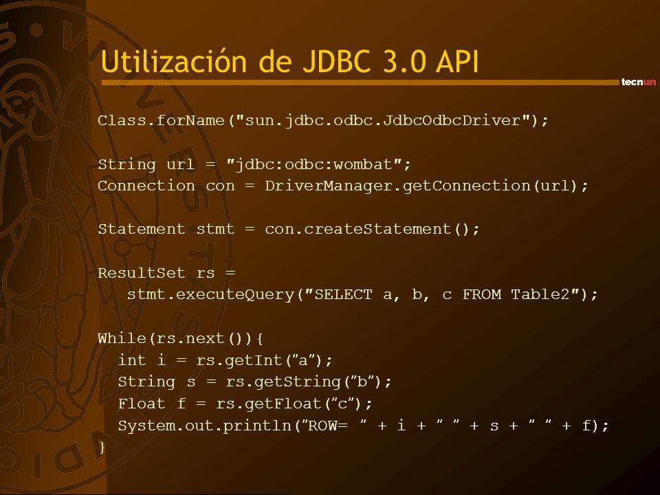 Utilización de JDBC 3.0 API Class.forName(