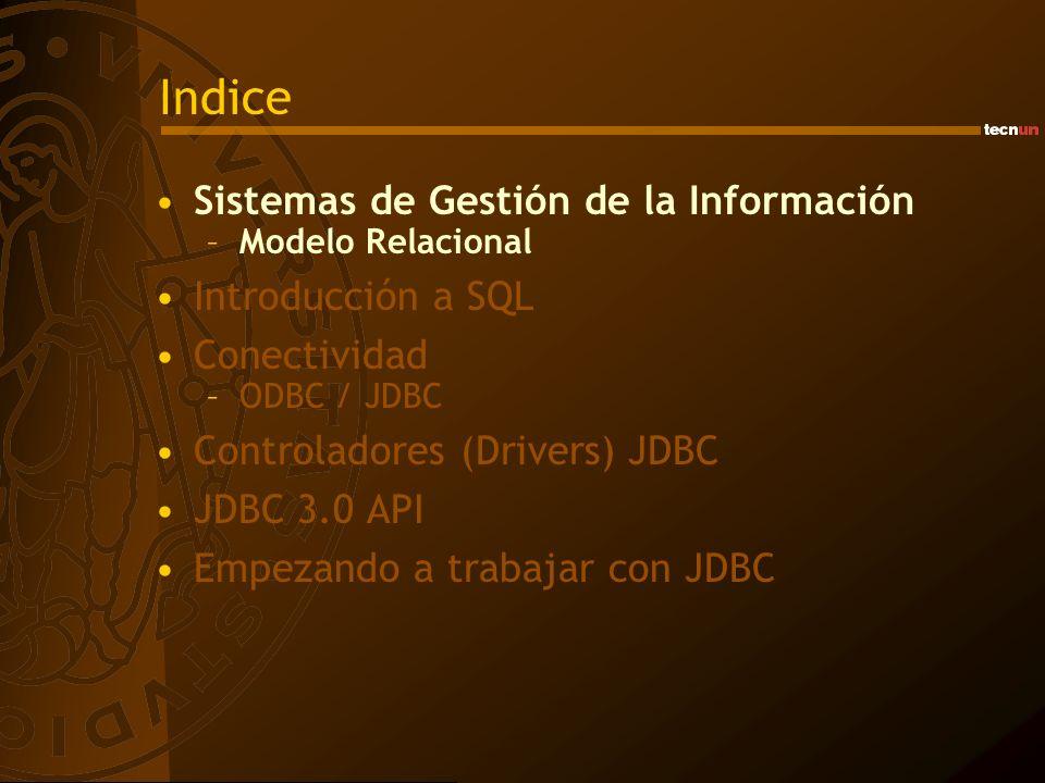 Indice Sistemas de Gestión de la Información –Modelo Relacional Introducción a SQL Conectividad –ODBC / JDBC Controladores (Drivers) JDBC JDBC 3.0 API