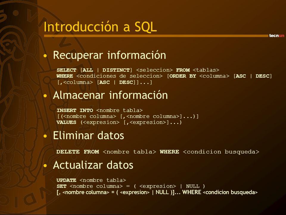 Introducción a SQL Recuperar información SELECT [ALL | DISTINCT] FROM WHERE [ORDER BY [ASC | DESC] [, [ASC | DESC]]...] Almacenar información INSERT I