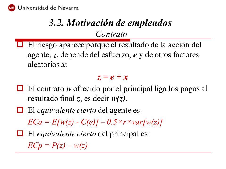 El contrato que implementa el nivel de esfuerzo eficiente es tal que: Max E[P(z) - w(z)] s.a.