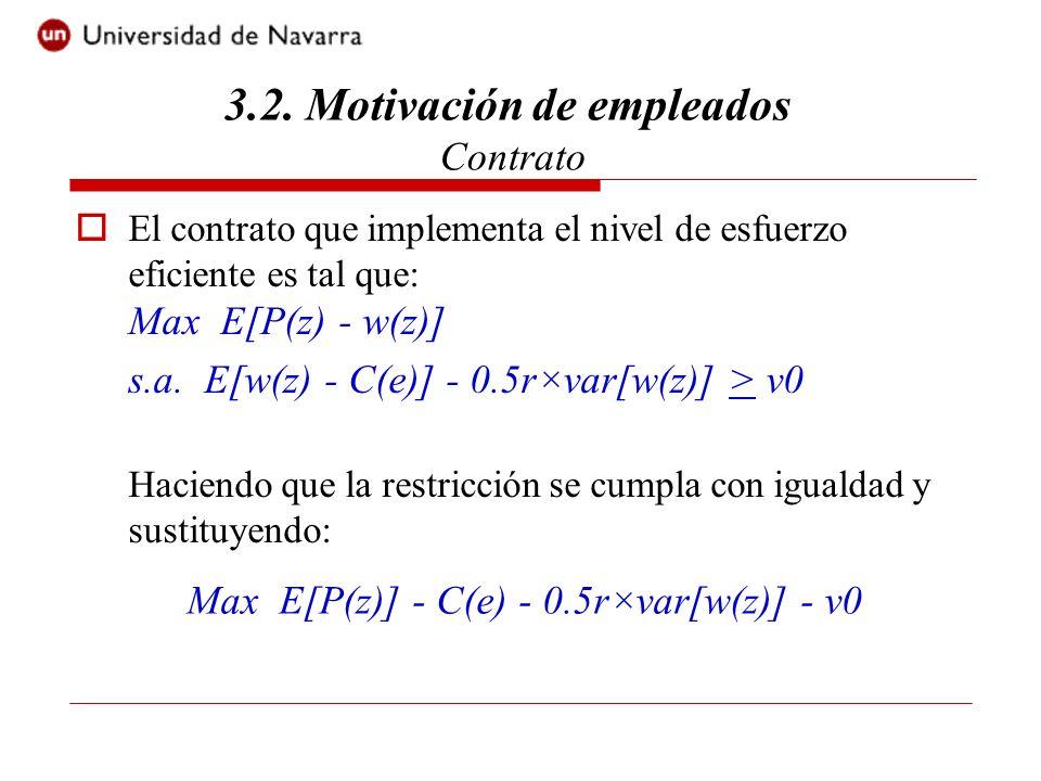 Por tanto, hay dos características del contrato que implementa el nivel de esfuerzo eficiente: P(e) = C (e) (Incentivar el agente) Var (w) = 0 (Proteger el agente contra el riesgo) 3.2.