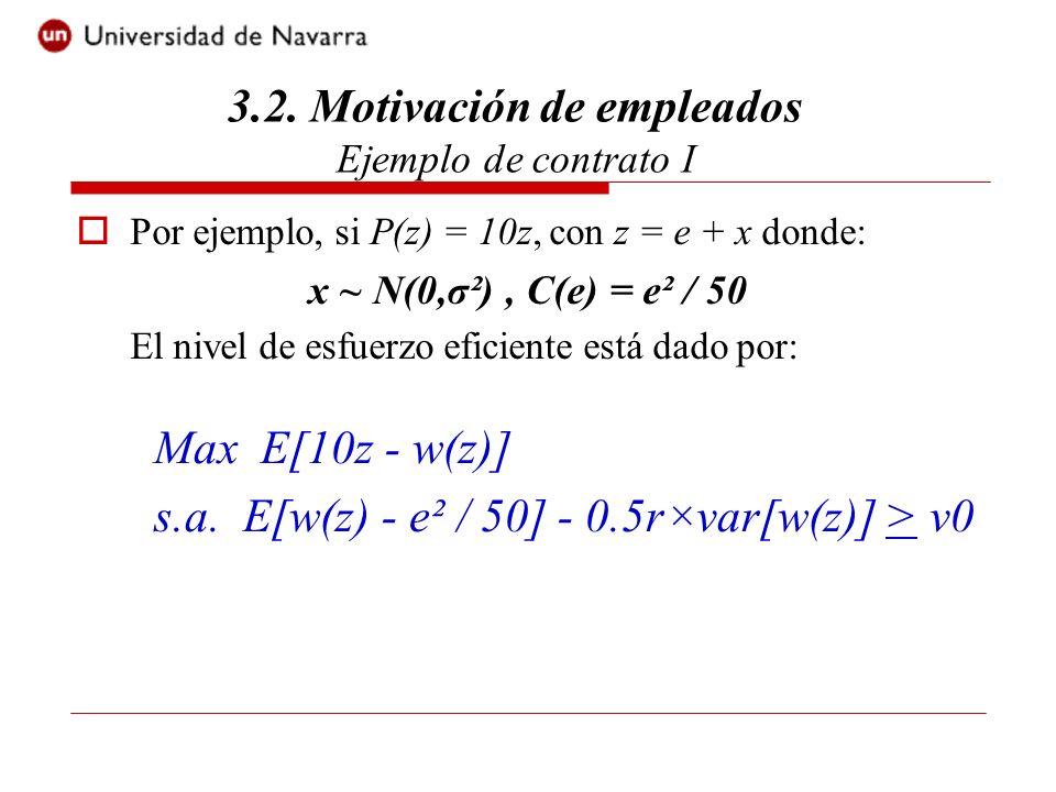 El problema de maximización es equivalente a: Entonces el nivel de esfuerzo eficiente es tal que: 10 = e / 25 lo que implica que e* = 250.