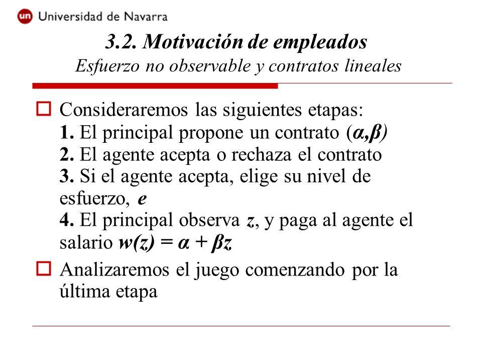 Una vez realizado z, el salario recibido por el agente es w(z) = α + βz Por ello, el agente elegirá un nivel de esfuerzo tal que: Entonces, Max α + βe - C(e) - 0.5rβ² ×var[x] 3.2.