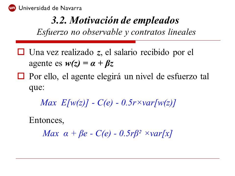 El nivel óptimo de esfuerzo que emprende el agente es tal que: β = C(e) Esta restricción debe ser tenida en cuenta por el principal al elegir los términos del contrato (restricción de incentivos: RI).