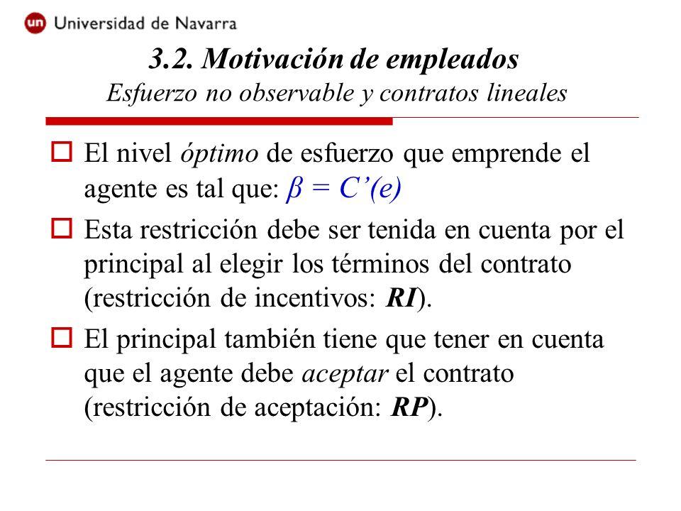 La restricción de participación es (RP): α + βe - C(e) - 0.5rβ² ×var[x] > v0 El problema del principal consiste en elegir el contrato (α, β) tal que: Max P(e) – (α + βe) s.a.