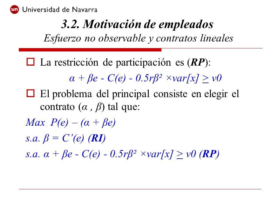 Insertando las restricciones en la función objetivo del principal, el problema puede escribirse como: Max P(e) – (v0 + C(e) + 0.5r(C(e))² ×var[x] ) Es decir, como si el principal eligiese el esfuerzo.