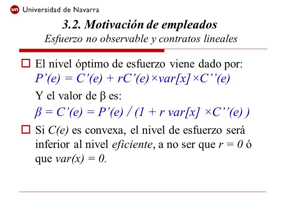 El valor de α viene dado por la restricción de participación (RP), satisfecha con igualdad es decir: α = v0 - βe + C(e) + 0.5rβ² ×var[x] 3.2.