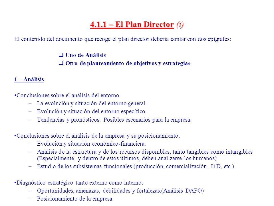 4.1.1 – El Plan Director (ii) 2 - Planteamiento de objetivos y estrategias Definición de objetivos: –Ajuste, si procede, de los fines y misiones de la empresa.