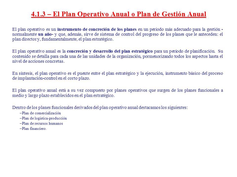 4.1.4 – El Presupuesto Operativo El presupuesto operativo es la versión monetaria del plan operativo.