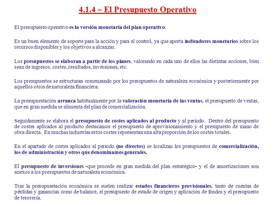 4.1.4 – El Presupuesto Operativo Plan Comercial Plan I + D Plan de Logística Plan Financiero Plan Información Plan RR.HH.