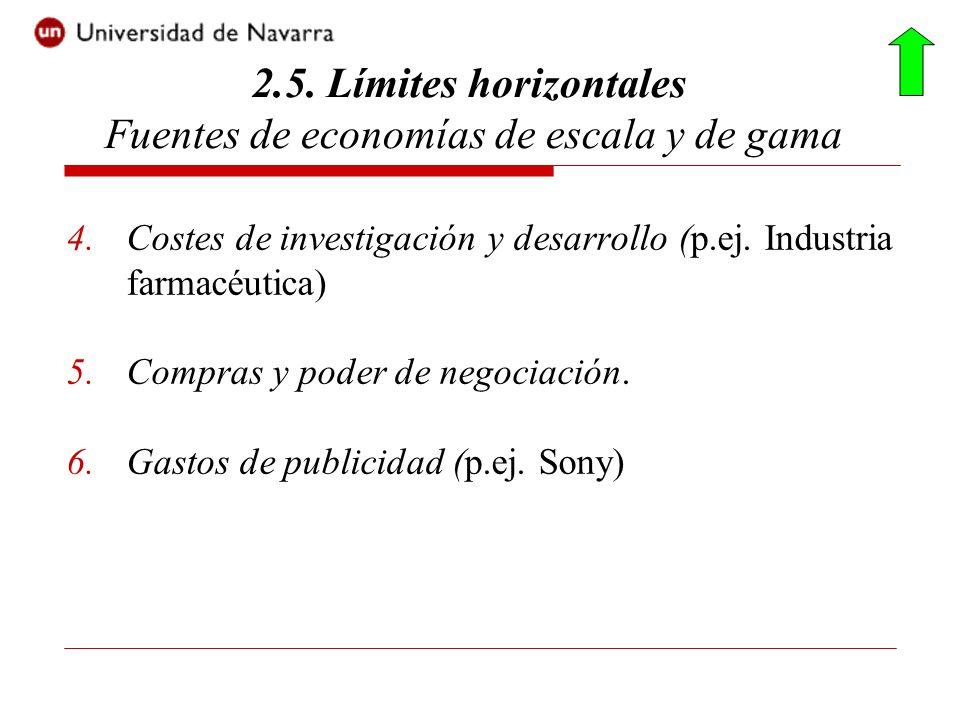 4.Costes de investigación y desarrollo (p.ej. Industria farmacéutica) 5.Compras y poder de negociación. 6.Gastos de publicidad (p.ej. Sony) 2.5. Límit
