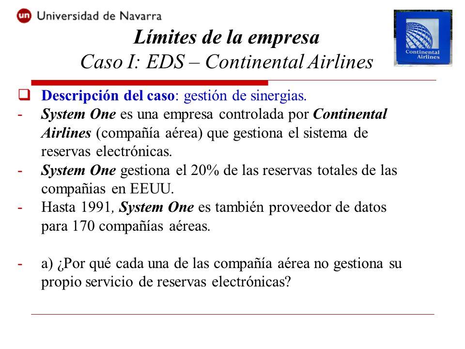 Descripción del caso: gestión de sinergias. -System One es una empresa controlada por Continental Airlines (compañía aérea) que gestiona el sistema de