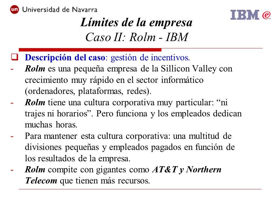 Descripción del caso: gestión de incentivos. -Rolm es una pequeña empresa de la Sillicon Valley con crecimiento muy rápido en el sector informático (o