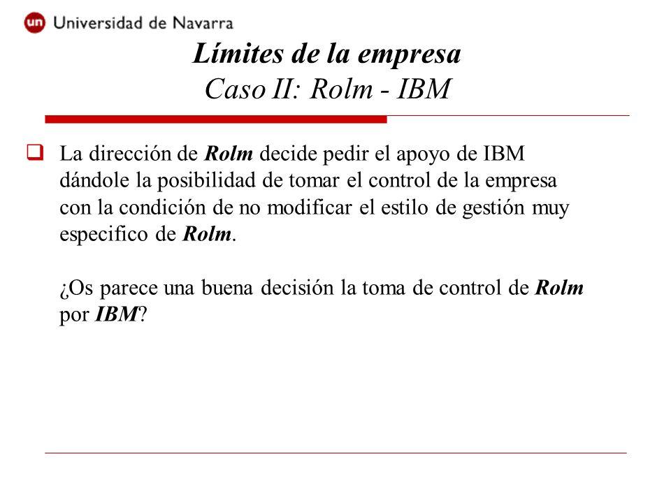 La dirección de Rolm decide pedir el apoyo de IBM dándole la posibilidad de tomar el control de la empresa con la condición de no modificar el estilo de gestión muy especifico de Rolm.