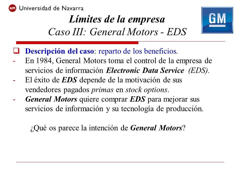 Descripción del caso: reparto de los beneficios. -En 1984, General Motors toma el control de la empresa de servicios de información Electronic Data Se