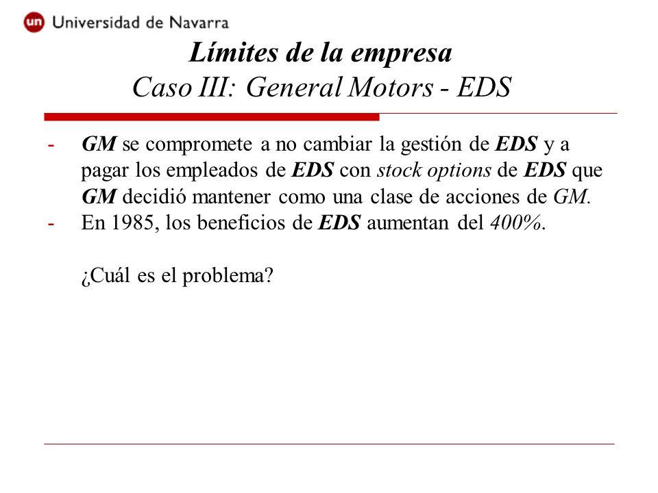 -GM se compromete a no cambiar la gestión de EDS y a pagar los empleados de EDS con stock options de EDS que GM decidió mantener como una clase de acc