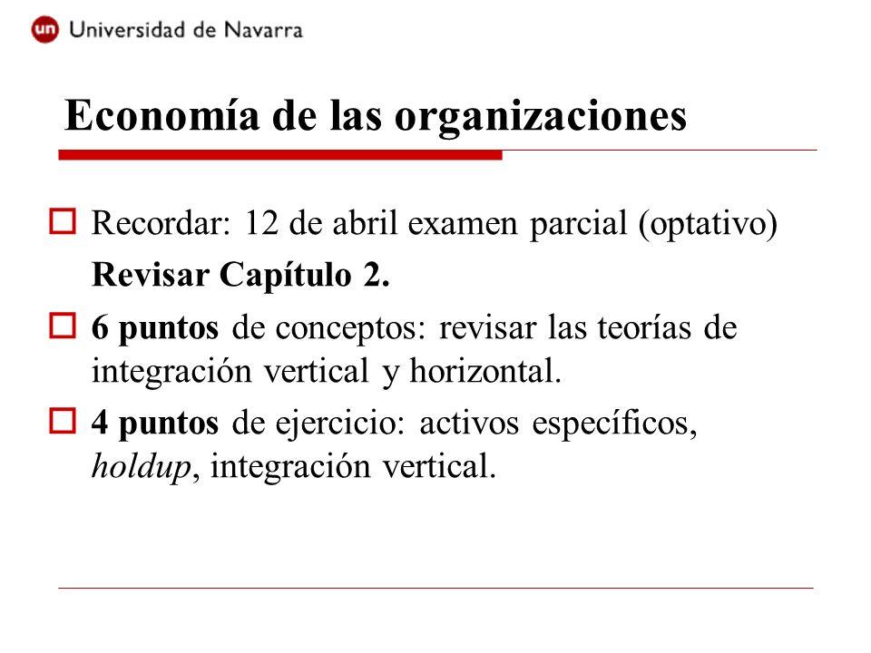 Economía de las organizaciones Recordar: 12 de abril examen parcial (optativo) Revisar Capítulo 2. 6 puntos de conceptos: revisar las teorías de integ