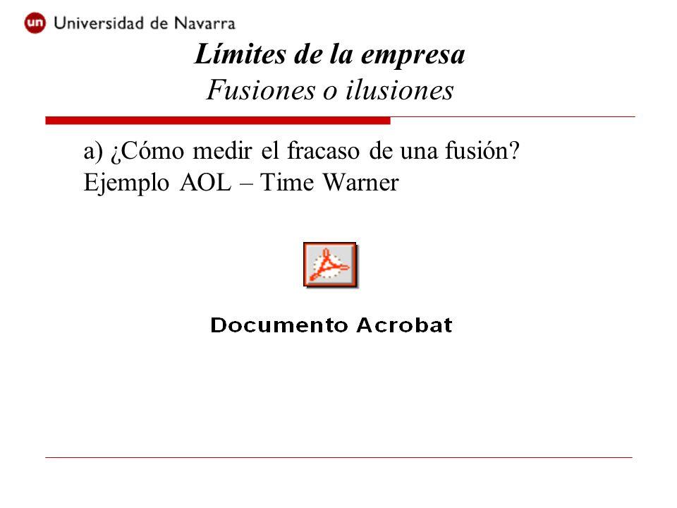 a) ¿Cómo medir el fracaso de una fusión? Ejemplo AOL – Time Warner Límites de la empresa Fusiones o ilusiones