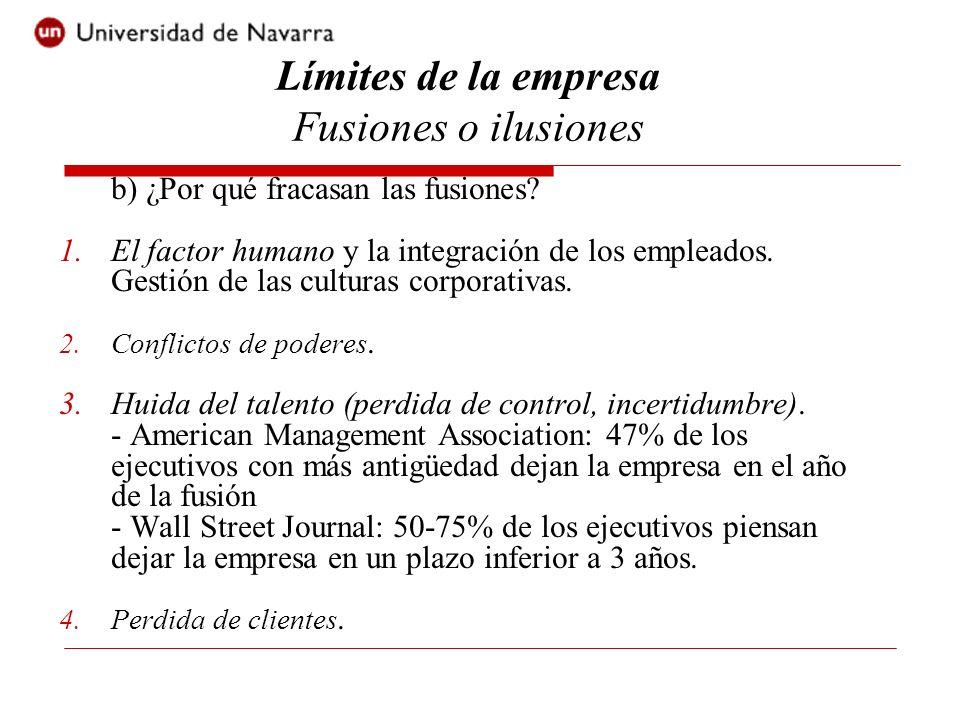 b) ¿Por qué fracasan las fusiones? 1.El factor humano y la integración de los empleados. Gestión de las culturas corporativas. 2.Conflictos de poderes