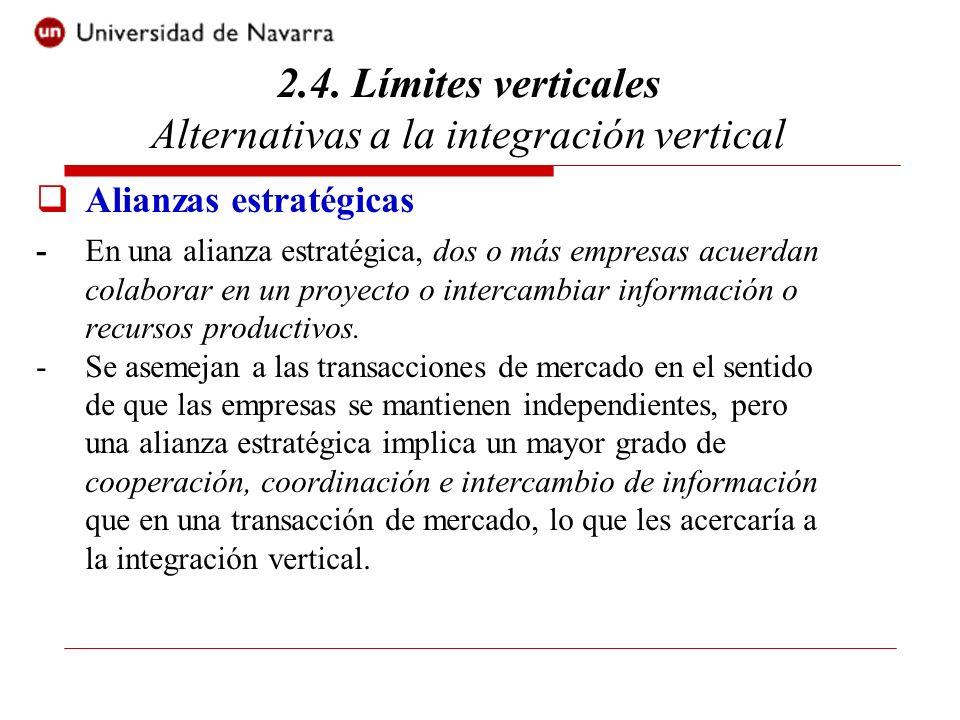 Alianzas estratégicas -En una alianza estratégica, dos o más empresas acuerdan colaborar en un proyecto o intercambiar información o recursos productivos.