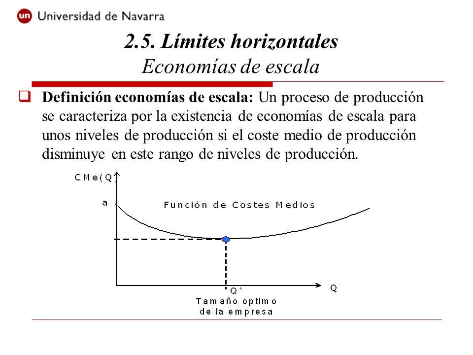 Definición economías de escala: Un proceso de producción se caracteriza por la existencia de economías de escala para unos niveles de producción si el coste medio de producción disminuye en este rango de niveles de producción.