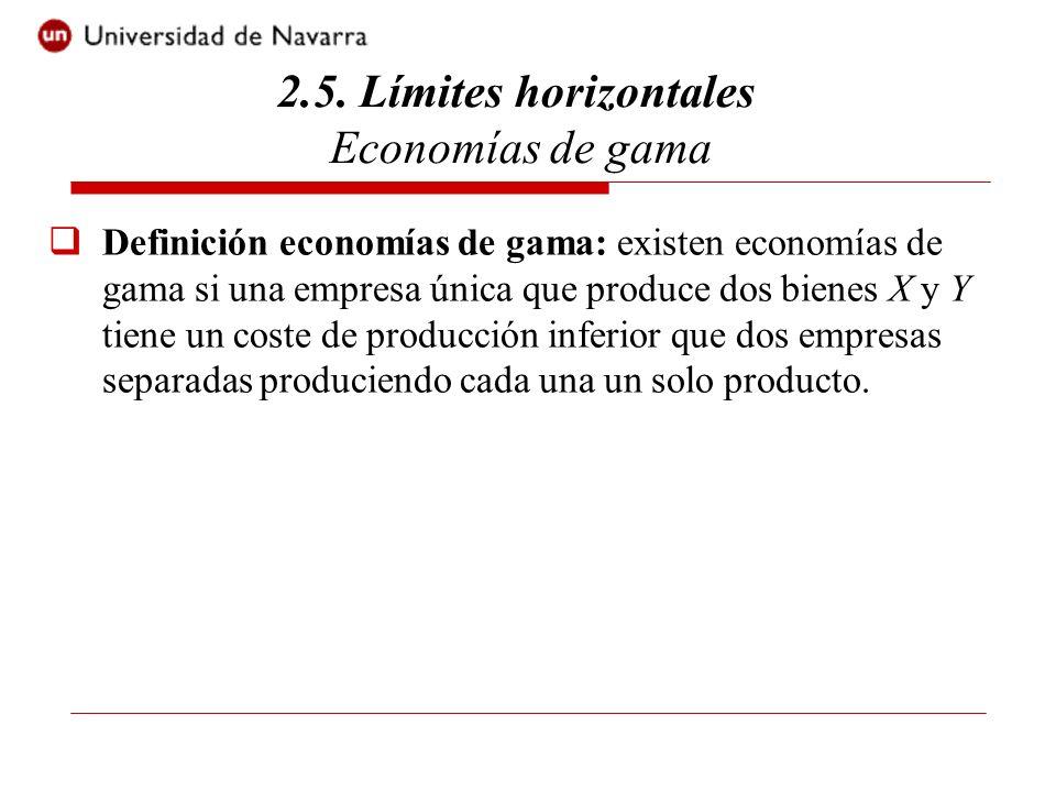 Definición economías de gama: existen economías de gama si una empresa única que produce dos bienes X y Y tiene un coste de producción inferior que dos empresas separadas produciendo cada una un solo producto.