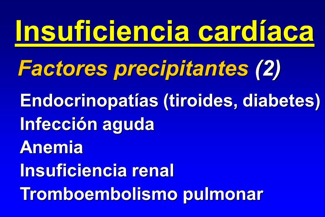 Insuficiencia cardíaca Factores precipitantes (2) Endocrinopatías (tiroides, diabetes) Infección aguda Anemia Insuficiencia renal Tromboembolismo pulm