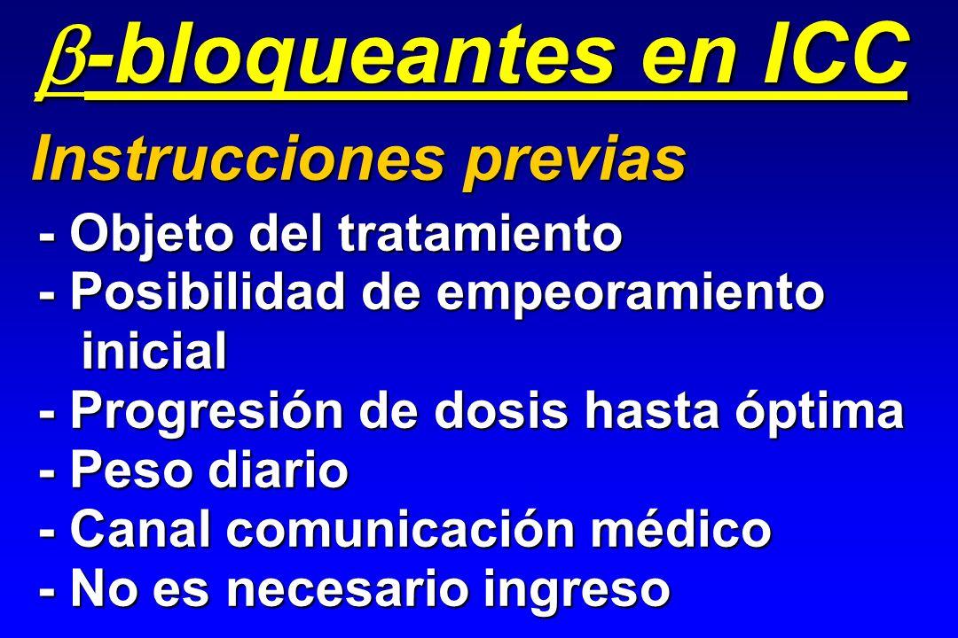 - Objeto del tratamiento - Posibilidad de empeoramiento inicial inicial - Progresión de dosis hasta óptima - Peso diario - Canal comunicación médico -