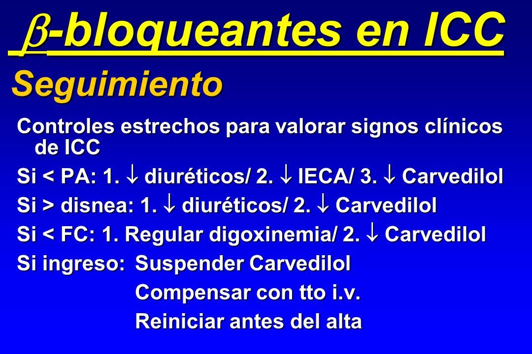 Controles estrechos para valorar signos clínicos de ICC Si < PA: 1. diuréticos/ 2. IECA/ 3. Carvedilol Si > disnea: 1. diuréticos/ 2. Carvedilol Si <