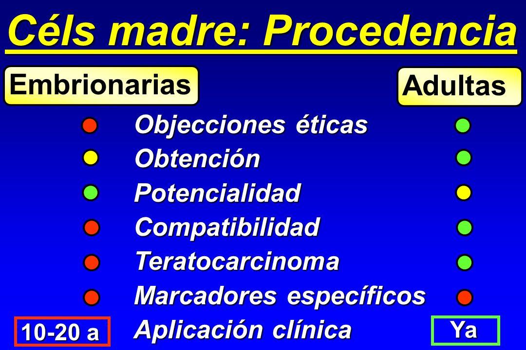 Céls madre: Procedencia Objecciones éticas ObtenciónPotencialidadCompatibilidadTeratocarcinoma Marcadores específicos Aplicación clínica Embrionarias