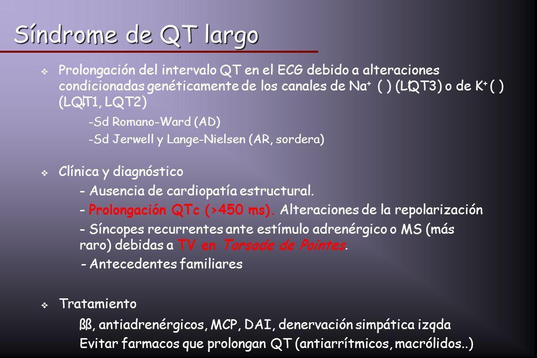 Síndrome de QT largo Prolongación del intervalo QT en el ECG debido a alteraciones condicionadas genéticamente de los canales de Na + ( ) (LQT3) o de