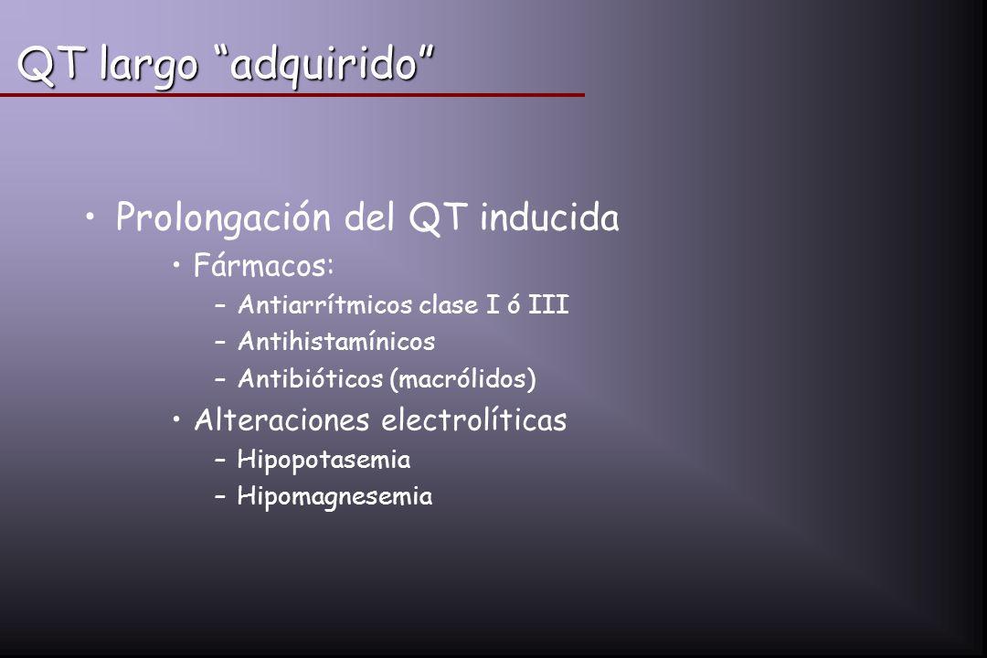 QT largo adquirido Prolongación del QT inducida Fármacos: –Antiarrítmicos clase I ó III –Antihistamínicos –Antibióticos (macrólidos) Alteraciones elec