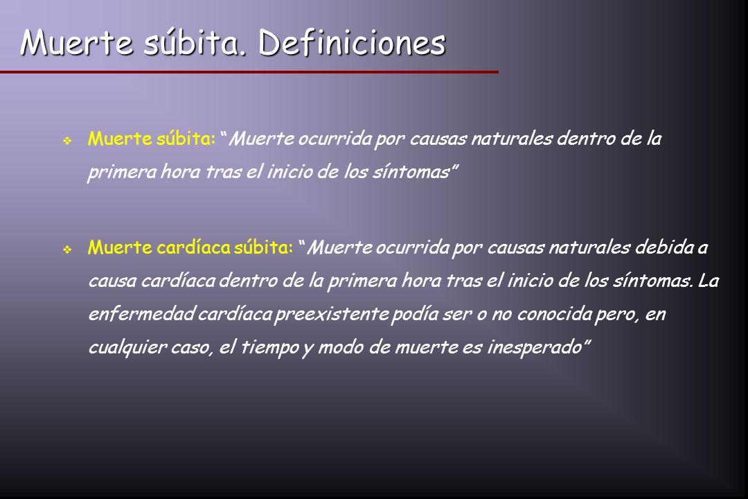 Muerte súbita. Definiciones Muerte súbita: Muerte ocurrida por causas naturales dentro de la primera hora tras el inicio de los síntomas Muerte cardía