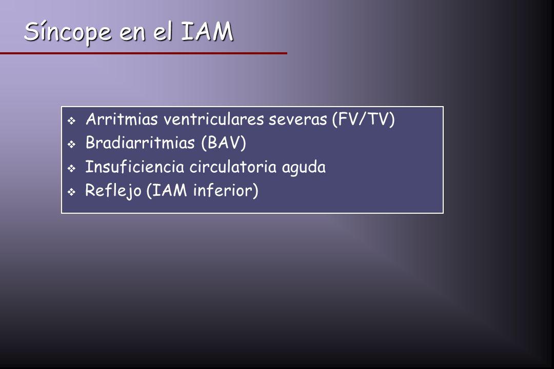 Síncope en el IAM Arritmias ventriculares severas (FV/TV) Bradiarritmias (BAV) Insuficiencia circulatoria aguda Reflejo (IAM inferior)