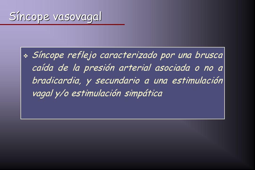 Síncope vasovagal Síncope reflejo caracterizado por una brusca caída de la presión arterial asociada o no a bradicardia, y secundario a una estimulaci