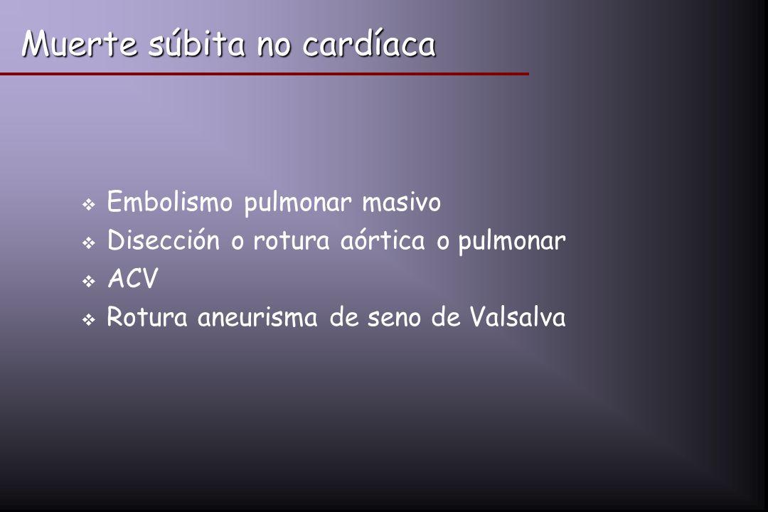 Muerte súbita no cardíaca Embolismo pulmonar masivo Disección o rotura aórtica o pulmonar ACV Rotura aneurisma de seno de Valsalva
