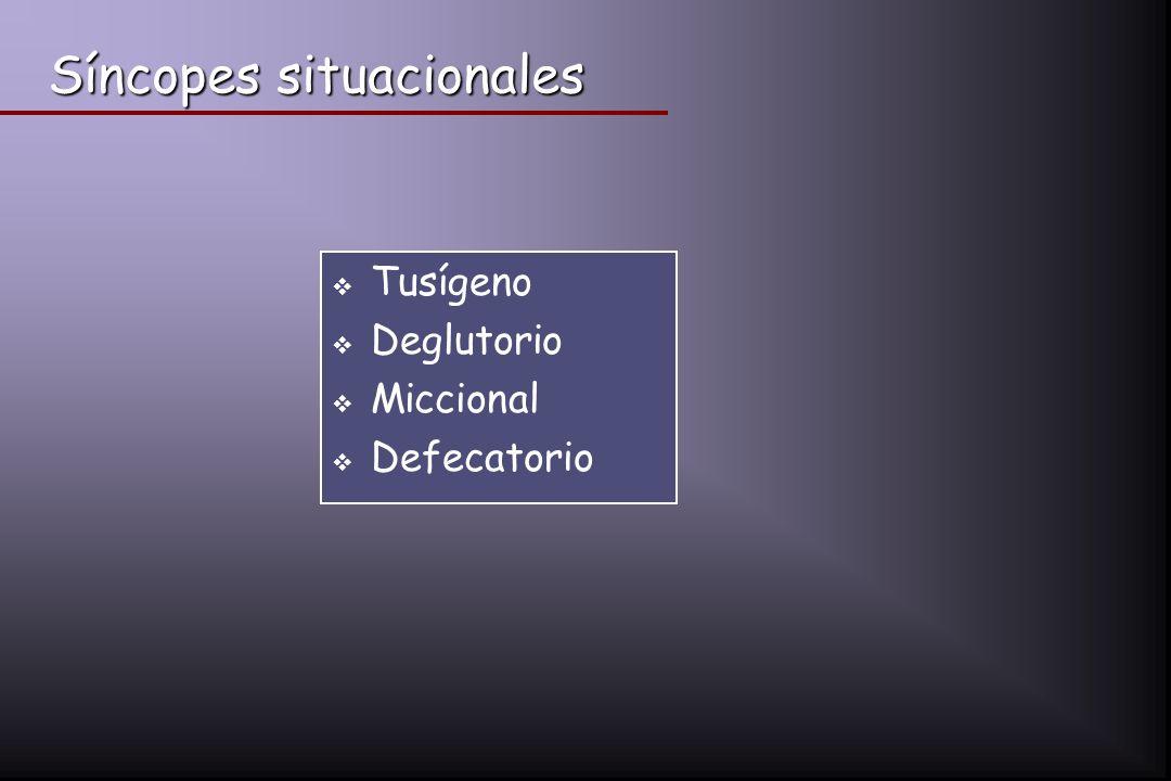 Síncopes situacionales Tusígeno Deglutorio Miccional Defecatorio