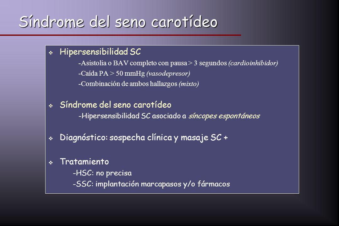 Síndrome del seno carotídeo Hipersensibilidad SC -Asistolia o BAV completo con pausa > 3 segundos (cardioinhibidor) -Caída PA > 50 mmHg (vasodepresor)