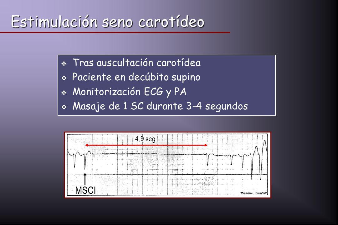 Estimulación seno carotídeo Tras auscultación carotídea Paciente en decúbito supino Monitorización ECG y PA Masaje de 1 SC durante 3-4 segundos 4,9 se